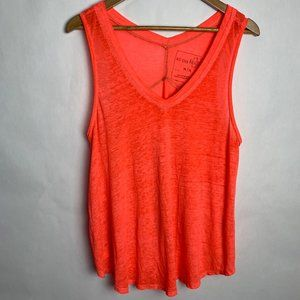 We The Free People Neon Distressed Burnout Tank